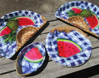 Vintage 8-Piece Watermelon Plastic Plates, Tray, Bowls,  Picnic Ware, Blue Gingham, 4th of July Decor, Patriotic Decor, [D]