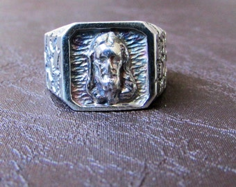 Silver Jesus Ring,Sterling Silver Ring,Solid Silver Ring,Christianity Silver Ring