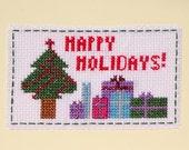 Christmas Card, Cross Stitch Christmas Card, Original Design, Xmas Card, Ready to Ship, Handmade Card
