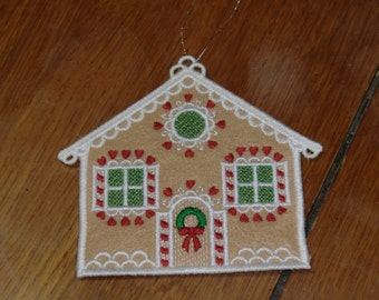 Embroidered Ornament - Christmas - Gingerbread House/No Chimney