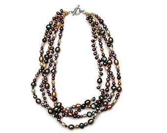 Vintage Multicolor Freshwater Pearl Necklace Silver Toggle Clasp