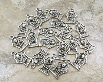 """Set of Twenty (20)  Pewter """"RIP"""" Tombstone Charms - 5214"""