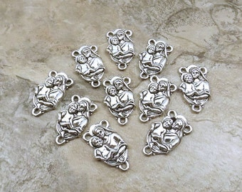 Ten (10) Pewter Madonna and Child Rosary Connectors - 5135
