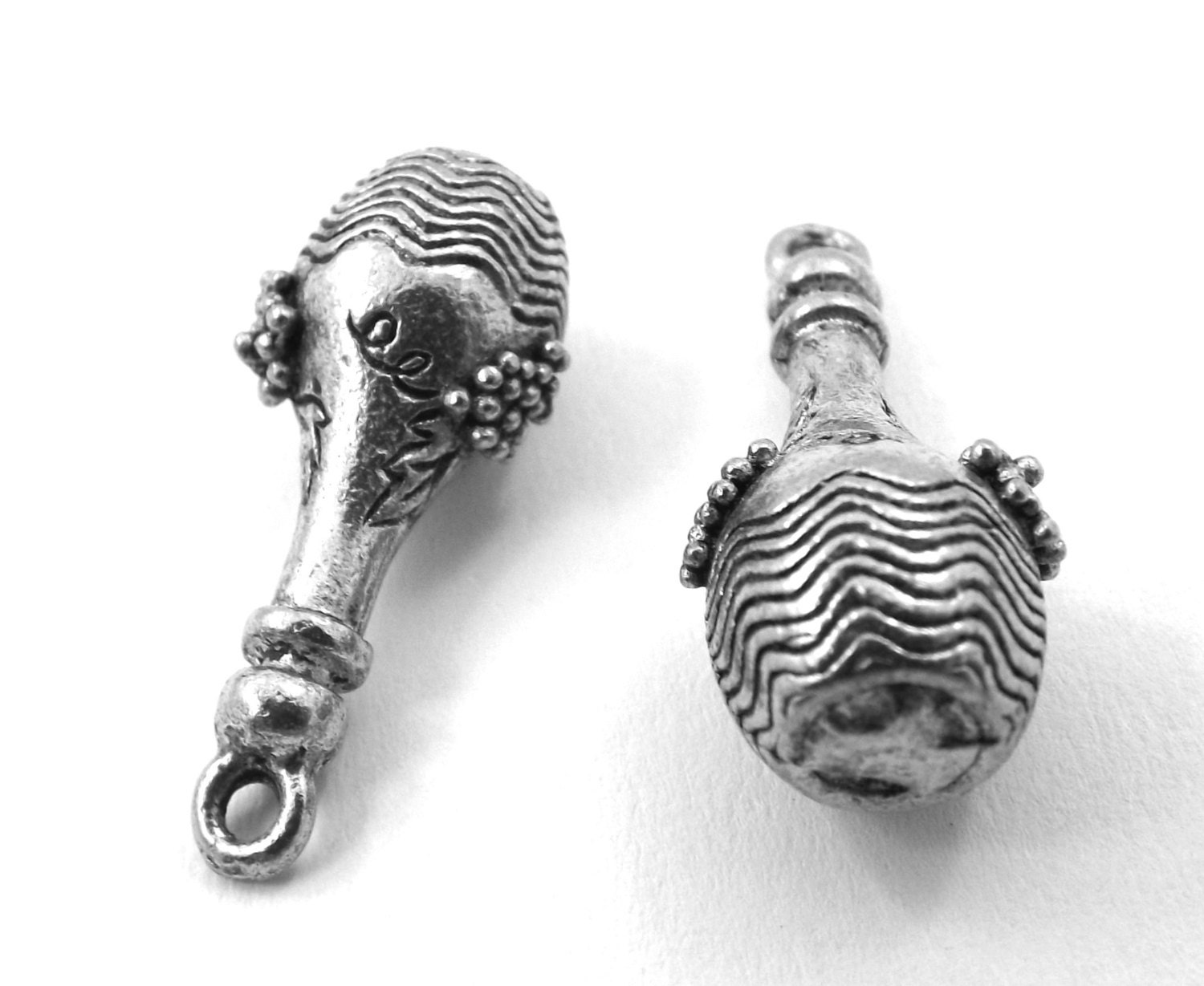 Set Of Three 3 Pewter Fancy Wine Bottle Charms 5443