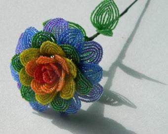 Rainbow French Beaded Flower