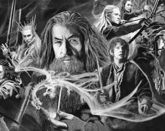 Lord of the Rings LOTR Gandalf, Bilbo, Legolas, Thorin Middle Erth Original Fan Art Limited Edition Print