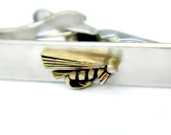 Swank Fish Lure Tie Clip Fisherman's Vintage Accessory Suit And Tie Angler Jewelry For Men Silver Brass