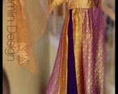 Renaissance dress costume wedding halloween size XL XXL silk jersey paneled headpiece sequins lace gold purple brocade