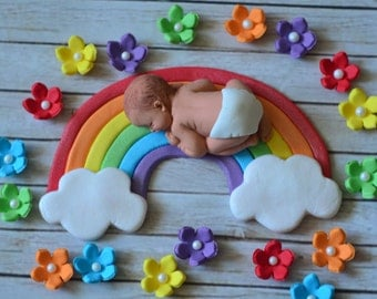 Rainbow baby cake topper set