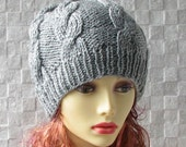 SALE HAT Hand knitted ladies slouchy beanie GREY Womens Beanie Hat Cable Hat