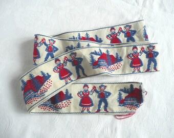 Vintage embroidered trim - antique ribbon trim - vintage folk trim - embroidered folk dancers - embroidered folk trim - vintage ribbon