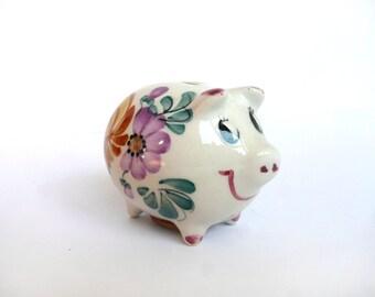 Childs money box - vintage piggy bank - childs piggy bank - hand painted pig money box - Portuguese porcelain pig money box