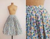 1950s Skirt - Vintage 50s Floral Skirt - Le Printemps Skirt