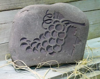 Cluster of  Grapes Door Stop Engraved Stone With Personalization Option
