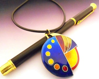 Abstract Pendant enameled brass cloisonné (Vitreous enamel jewelry) ,