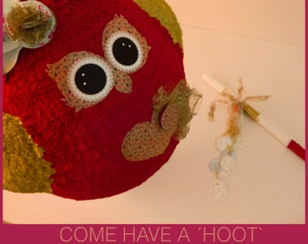 Owl pinata in red & gold