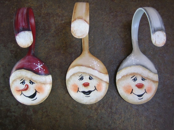 Painted red snowman soup spoon christmas ornament by for How to paint snowmen