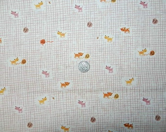 VHTF Heather Ross Tigerlily  Kittens Peach on White- FQ 18 inches x 22 inches