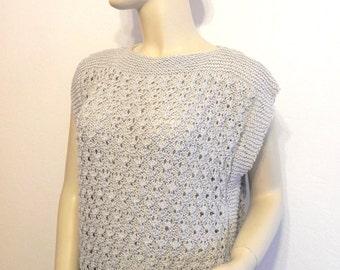 tunic top women knitted grey cotton hand bead size 38/40 fashion woman