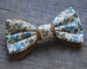 Floral Hair Bow - Brown Flannel and Blue Floral - Made with vintage fabric and a French barrette.