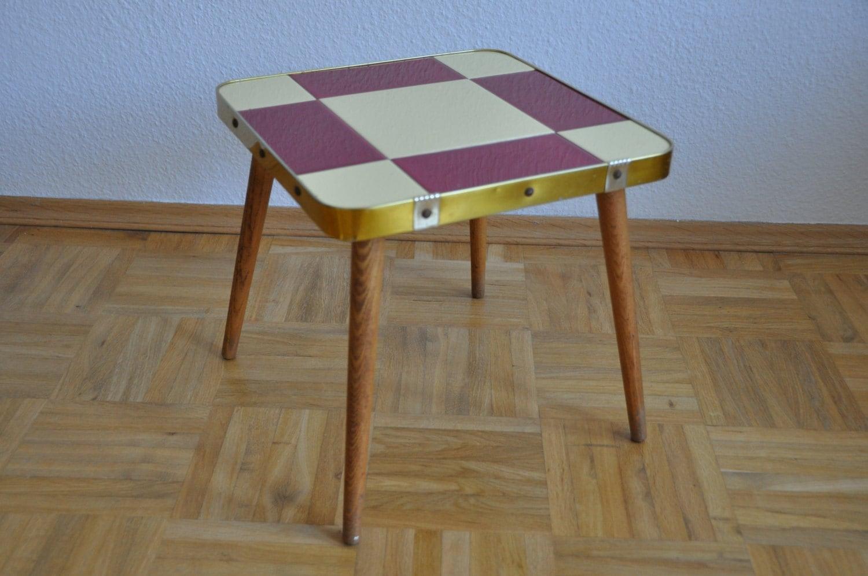 Small mid century table crimson and cream ceramic tiles - Petite table haute ...