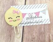Pink/Yellow/Girlie Lemon/Felt Applique Paper Clip/Planner Clip/Journal Marker/Bookmark