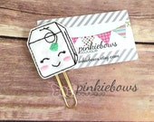 Kawaii Tea Bag/Felt Applique Paper Clip/Journal Marker/Bookmark/Planner Clip