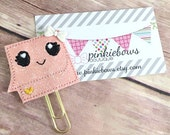 Post It Note/Pink/Gold/Sparkle Applique Paper Clip/Journal Marker/Bookmark
