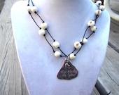 "Organic Necklace, ""Love Life..."" Pendant, Organic Necklace, Eco-Friendly Jewelry, Vegan, Vegetarian, Vegan Gifts, Black & White Jewelry"