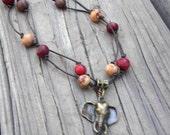 Elephant Necklace, Organic Necklace, Bronze Elephant, Eco-Friendly, Earth Tones Jewelry, Herbivore, Pachyderm, Vegan Gifts