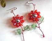 Wire Wrapped Flower Earrings, Red Flowers, Wire Wrapped Jewelry, Nature Inspired, Gift Jewelry, Christmas Gifts