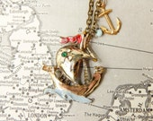 Pirate ship necklace / vintage nautical necklace / upcycled necklace / repurposed necklace / vintage pirate ship / anchor necklace / vintage