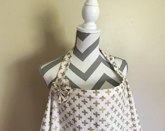 Nursing Cover - gold and white cross print breastfeeding cover hooter hider with a fabric flower clippie - Ready to ship