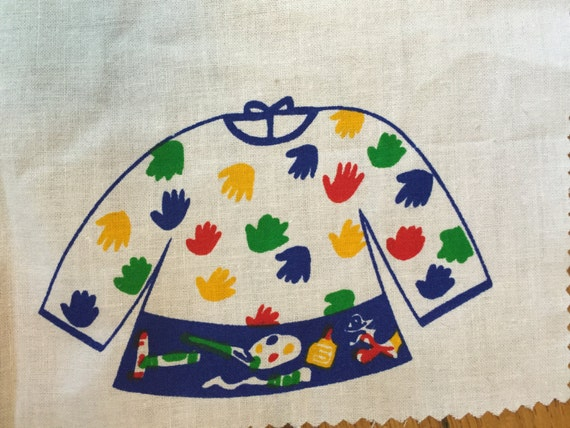 Vintage fabric panel cotton material sewing project for for Children s material sewing
