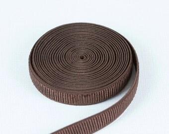 "3 Yards Chocolate Brown 1/2"" Ribbed Satin Plush Back Strap Elastic Bramaking Supplies Lingerie Sewing"