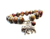 Elephant Mala Bracelet Picasso Jasper Strength Namaste Meditation Ganesha Charm Yoga Jewelry Unique Christmas Indie Gift Stocking Stuffer
