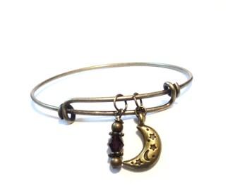 Moon and Stars Bangle Bracelet Yoga Jewellery Charm Amethyst Adjustable Bohemian Gift For Her Birthday Christmas Stocking Stuffer Under 20