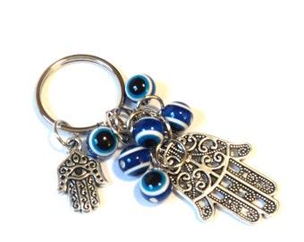 Hamsa Evil Eye Keychain Bag Charm Keyring Protection Yoga Hand of Fatima Hamsa Accessories Christmas Stocking Stuffer Gift For Her or Him