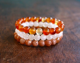 Stacking Bracelet Set Carnelian and Moonstone Beaded Gemstone Bracelet Trio Healing Crystals Spiritual Jewelry Yoga Jewelry Orange Set