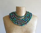Tribal fabric bib necklace made from green, turquoise and pink cotton. African style statement necklace, upcycled recycled repurposed, OOAK
