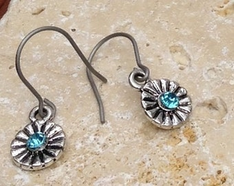Titanium and light blue crystal earrings Small Hypo allergenic allergy free sensitive ears