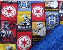 Star Wars Red*Blue Fighter Squadron*Boba Fett*Darth Vader*Storm Trooper Cotton Fabric/Navy Minky Dimpled Plush Fleece Baby Stroller Blanket