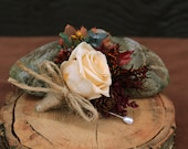 Autumn Champagne Rose Grooms Boutonniere, Woodland Wedding, Rustic Fall Boutonniere, Autumn Boutonniere, Rose and Fall Foliage Boutonniere
