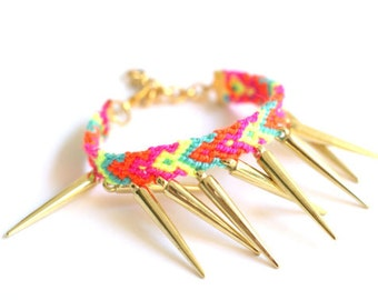 Gold Spikes Friendship Bracelet.