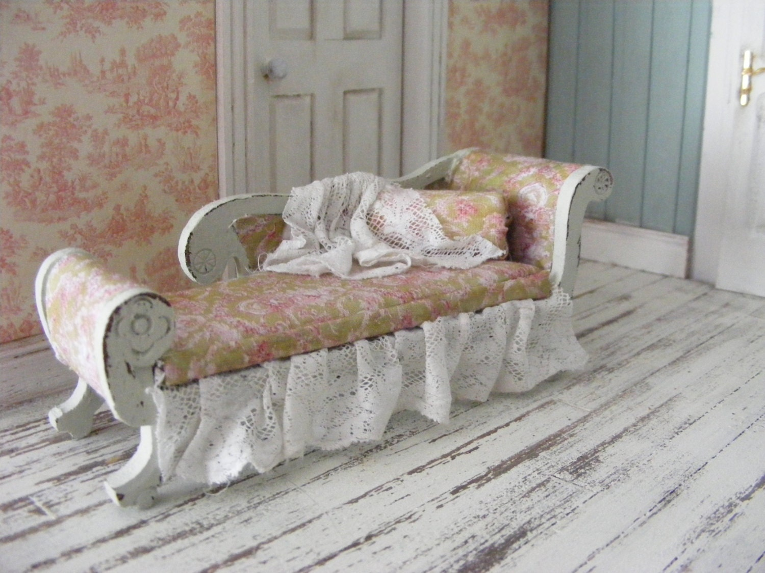 Miniature shabby chic chaise lounge by shabbiechicminiature - Chaise campagne chic ...