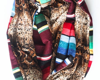 Oxblood Mexican Serape and Brown and Tan Snakeskin Print Knit Infinity Circle Scarf