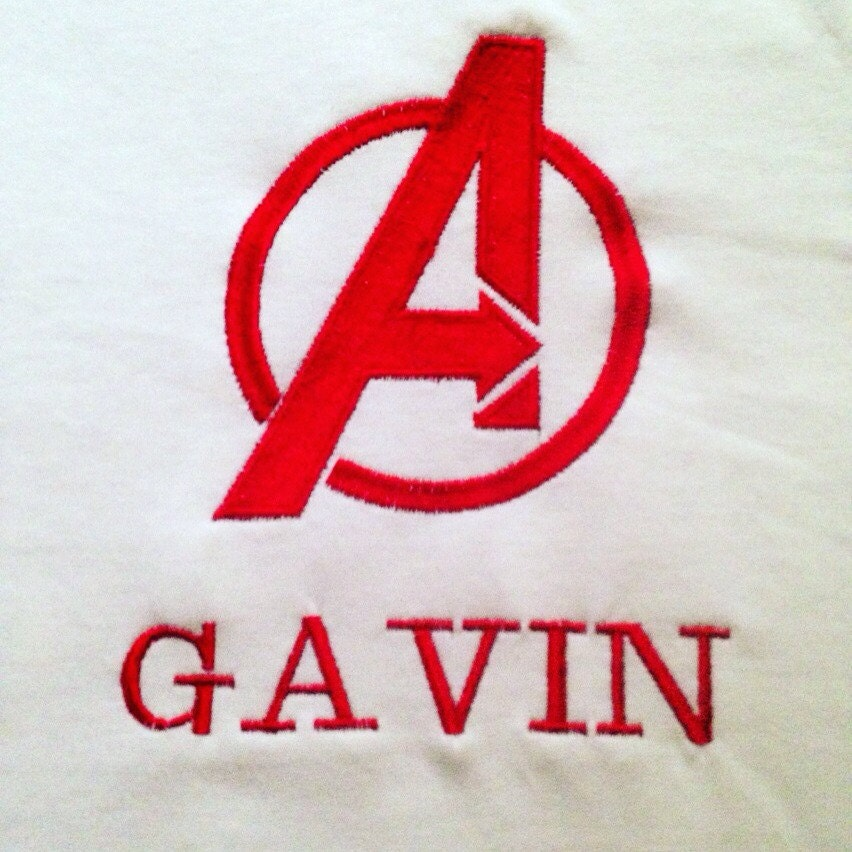 Avengers personalized name embroidered shirt