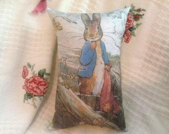 "Beatrix Potter ..12 x 7.5"" Peter Rabbit & the Onions Pillow."