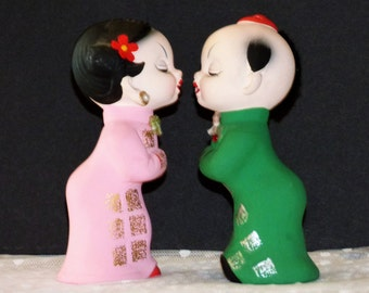 Vintage Super Adorable Kissing Asian Boy and Girl Ceramic Salt and Pepper Shakers