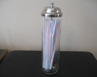 Retro Diner Style Glass Straw Dispenser